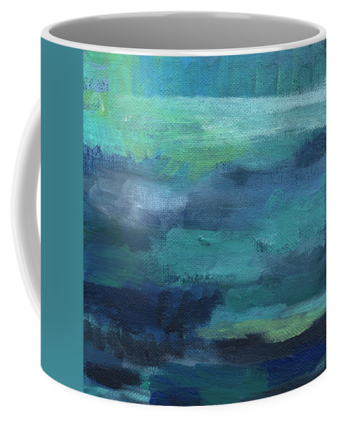 Blue Coffee Mug featuring the painting Tranquility- abstract painting by Linda Woods