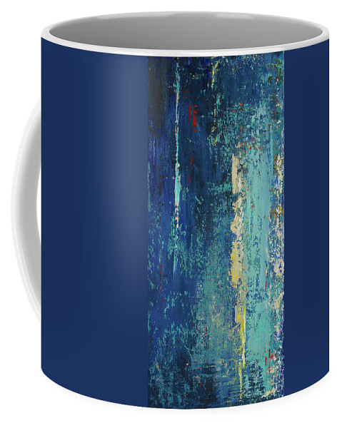 Blue Coffee Mug featuring the painting Deep Blue Abstract by Patricia Pinto