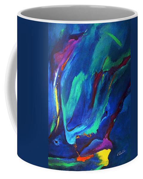 Abstract Coffee Mug featuring the painting Deep Blue Thoughts by Ruth Palmer