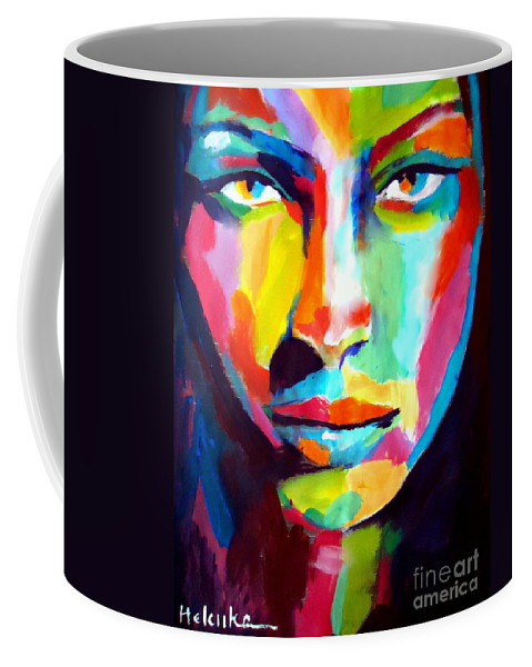 Contemporary Art Coffee Mug featuring the painting Deep Gaze by Helena Wierzbicki