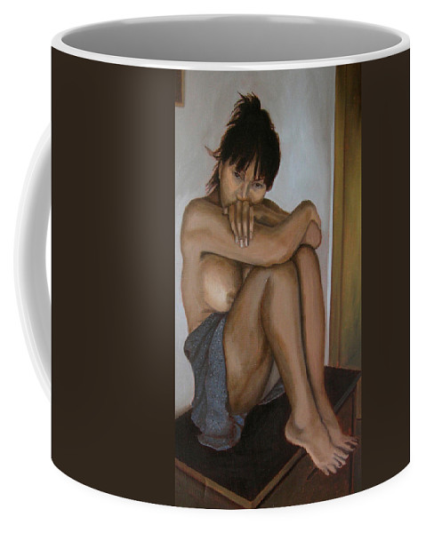 Figure Coffee Mug featuring the painting Deep in thought by Thu Nguyen