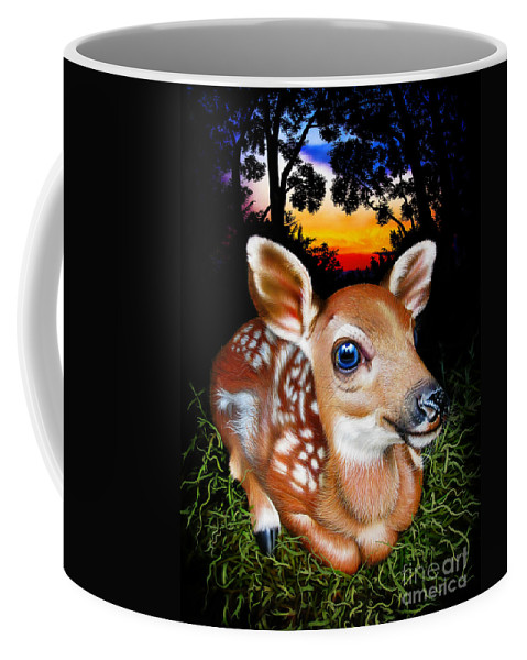 Deer Coffee Mug featuring the painting Fawn by Jurek Zamoyski