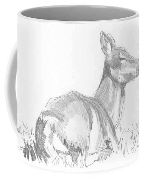 Deer Coffee Mug featuring the drawing Deer Lying Down Drawing by Mike Jory