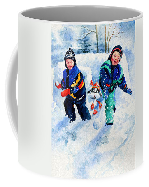 Snowball Fight Print Coffee Mug featuring the painting Defend Our Front Yard by Hanne Lore Koehler