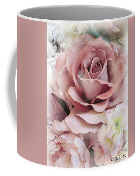 Rose Coffee Mug featuring the digital art Delicate Rose by Kelly Schutz