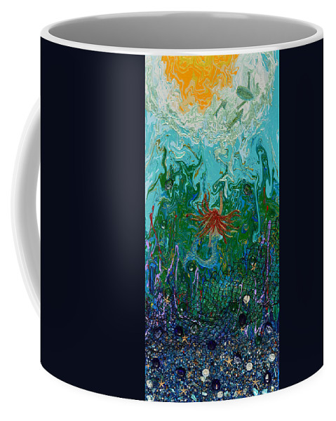 Mermaid Coffee Mug featuring the painting Deliverance by Donna Blackhall