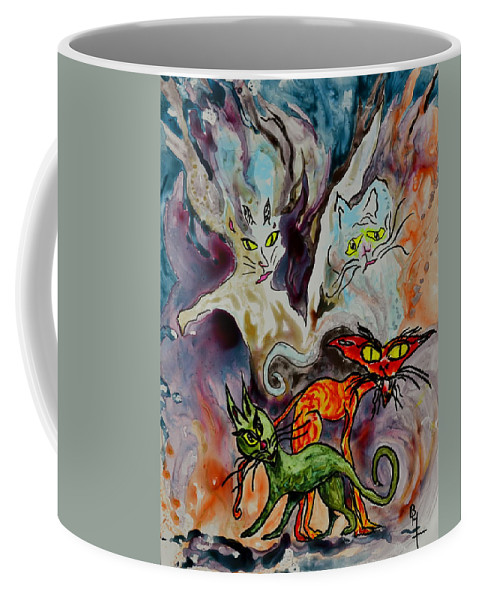 Yupo Coffee Mug featuring the painting Demon Cats Haunted by Beverley Harper Tinsley