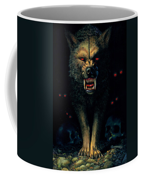 Aggressive Coffee Mug featuring the photograph Demon Wolf by MGL Studio - Chris Hiett