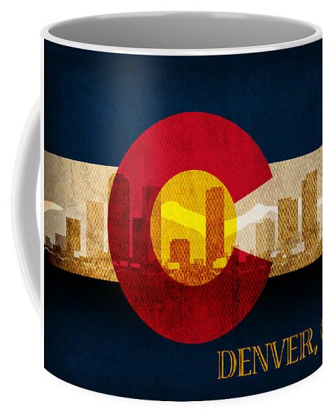 Denver Skyline Silhouette Of Colorado State Flag Canvas Coffee Mug