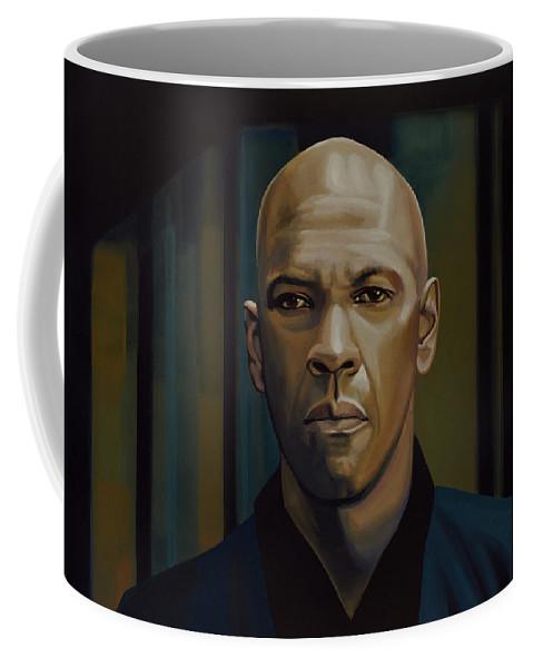 Denzel Washington Coffee Mug featuring the painting Denzel Washington In The Equalizer Painting by Paul Meijering