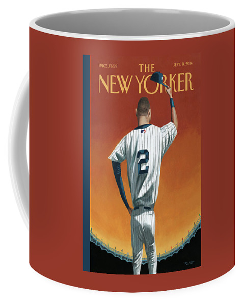 Retirement Coffee Mug featuring the painting Derek Jeter Bows Out by Mark Ulriksen