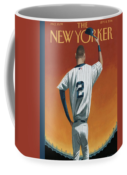 Retirement Coffee Mug featuring the painting Derek Jeter Bows by Mark Ulriksen
