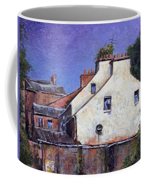Irish Coffee Mug featuring the painting Derry Gables by Jim Gola