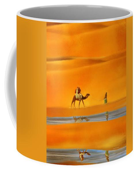 Dessert Coffee Mug featuring the painting Desert Mirage by Angela Stanton