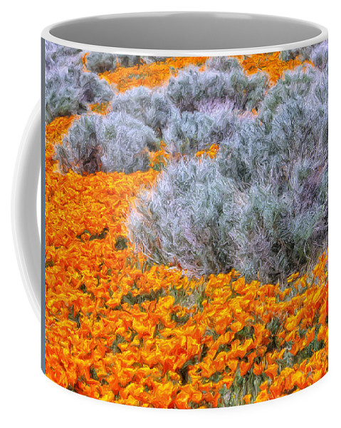 California Poppies Coffee Mug featuring the painting Desert Poppies And Sage by Dominic Piperata
