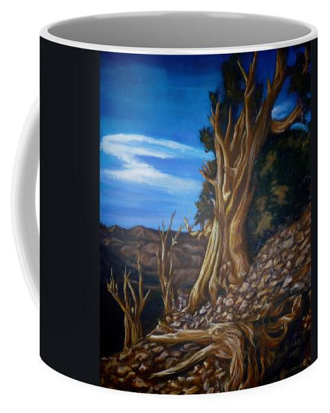 Desert Coffee Mug featuring the painting Desert Tree by Bryan Bustard