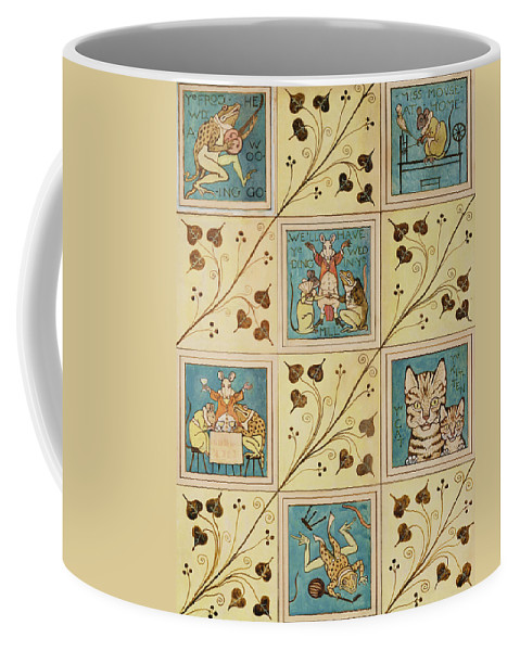 Voysey Coffee Mug featuring the painting Design For Nursery Wallpaper by Voysey