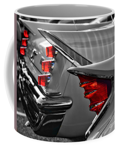 Paul Ward Coffee Mug featuring the photograph Desoto Red Tail Lights In Black And White by Paul Ward
