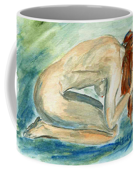 Female Coffee Mug featuring the painting Despair by Donna Blackhall