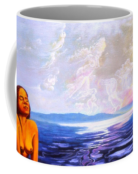 Genio Coffee Mug featuring the mixed media Detail From - Sun Woman by Genio GgXpress