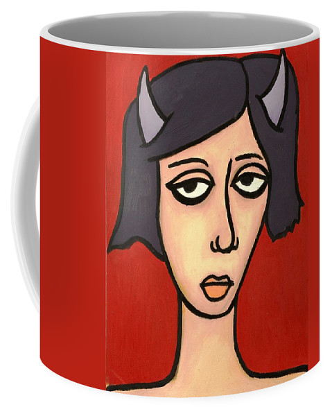 Clay Coffee Mug featuring the painting Devil Girl by Thomas Valentine