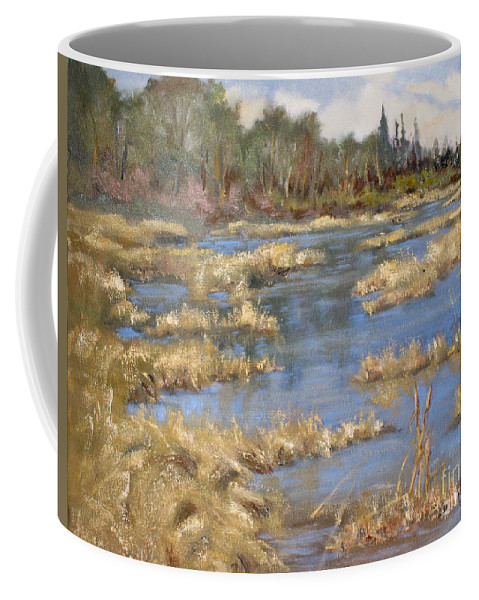 Marshes Coffee Mug featuring the painting Devon Bog Oil by Mohamed Hirji
