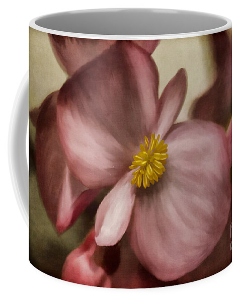 Begonia Coffee Mug featuring the photograph Dewy Pink Painted Begonia by Lois Bryan