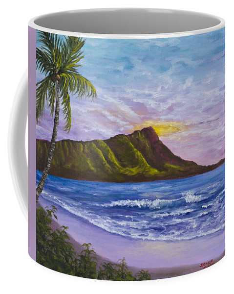 Hawaii Coffee Mug featuring the painting Diamond Head by Darice Machel McGuire