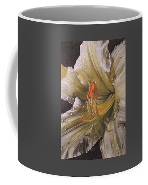 Daylily Coffee Mug featuring the painting Diamonds by Barbara Keith