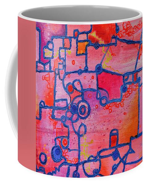 Duality Coffee Mug featuring the painting Dichotomy Original Abstract Oil Painting By Regina Valluzzi by Regina Valluzzi