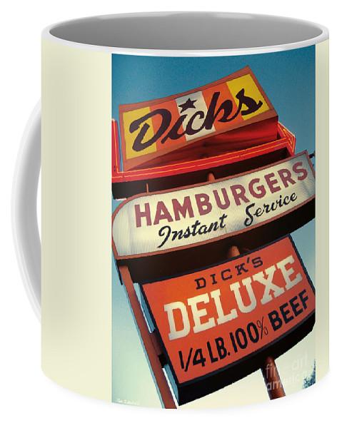 Burgers Coffee Mug featuring the digital art Dick's Hamburgers by Jim Zahniser