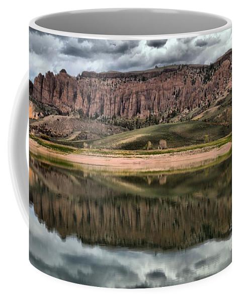 Curecanti Coffee Mug featuring the photograph Dillon Pinnacles In Blue Mesa by Adam Jewell