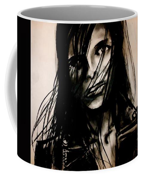 Girl Coffee Mug featuring the drawing Disheveled by Jason Reinhardt