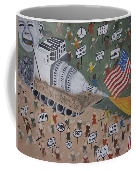 Political Satire Coffee Mug featuring the painting Divided We Stand by Dean Stephens