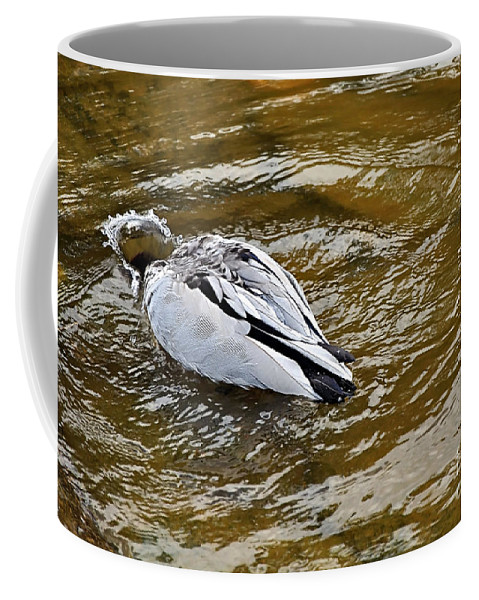Photography Coffee Mug featuring the photograph Diving Duck by Kaye Menner