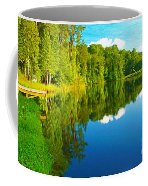 Bear Lake Georgia Coffee Mug featuring the photograph Dock On Mountain Lake by Laura D Young