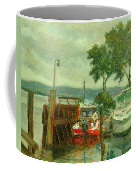 Landscape Coffee Mug featuring the painting Docked Boats by Phyllis Tarlow