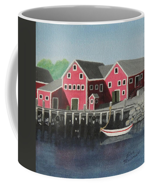 Acrylic Coffee Mug featuring the painting Docked - Original Sold by Lisa MacDonald