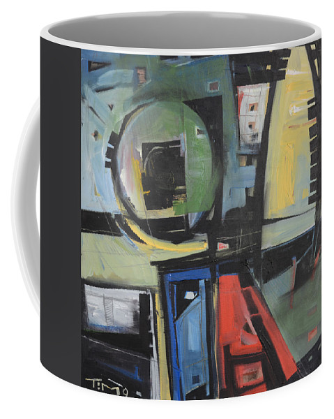 Abstract Coffee Mug featuring the painting Dockside by Tim Nyberg