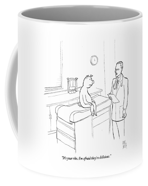Pigs Coffee Mug featuring the drawing Doctor To Pig by Paul Noth