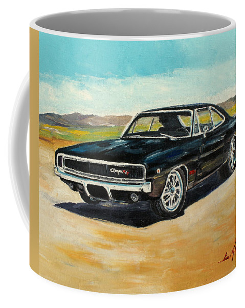 Dodge Coffee Mug featuring the painting Dodge Charger Rt 1970 by Luke Karcz