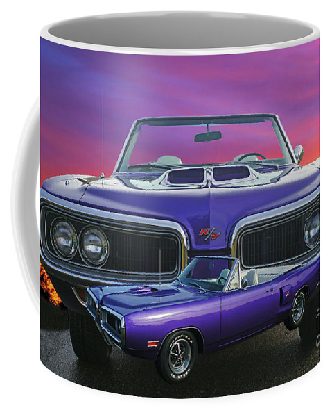 Cars Coffee Mug featuring the photograph Dodge Rt Double Exposure Purple Sunset by Randy Harris