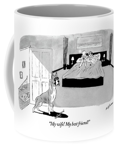 Love Coffee Mug featuring the drawing Dog Enters Room Where Poodle And Man Are In Bed by Andy Friedman