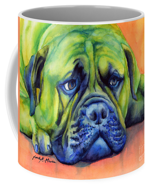 Dog Coffee Mug featuring the painting Dog Tired by Hailey E Herrera
