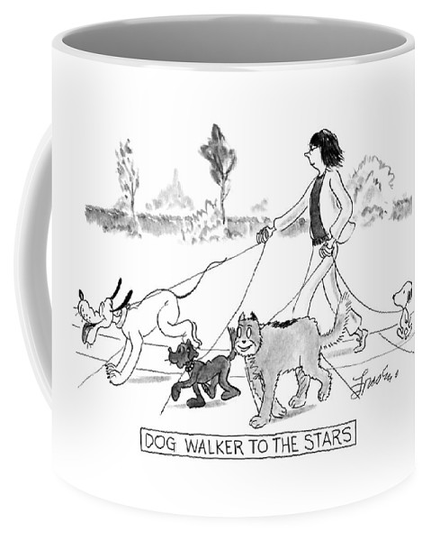 Pets Coffee Mug featuring the drawing Dog Walker To The Stars by Edward Frascino
