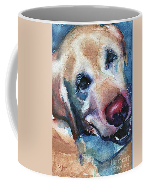 Dog Art Coffee Mug featuring the painting Doggie Breath by Maria's Watercolor