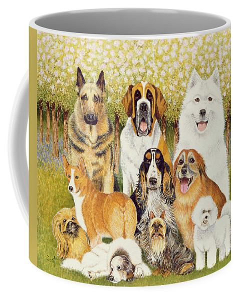 Dog Coffee Mug featuring the painting Dogs In May by Pat Scott