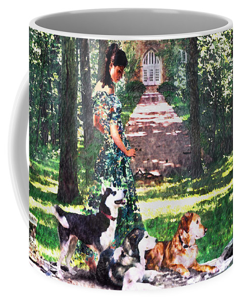 Landscape Coffee Mug featuring the photograph Dogs Lay At Her Feet by Steve Karol