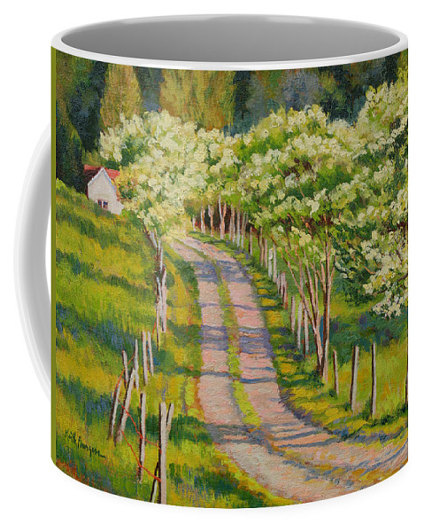 Impressionism Coffee Mug featuring the painting Dogwood Allee by Keith Burgess
