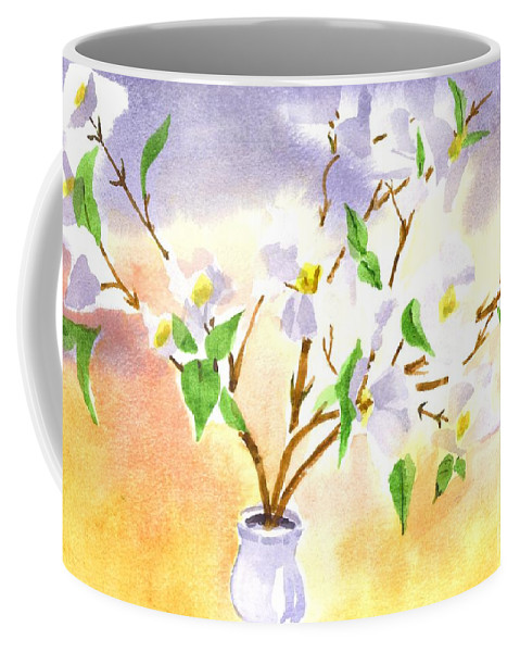 Dogwood In Watercolor Coffee Mug featuring the painting Dogwood In Watercolor by Kip DeVore